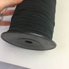 Bulk Roll Black Braided Elastic, Polyester Nylon Elastase, 4mm X 300m