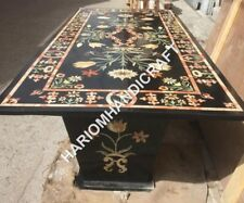 5'x3' Black Marble Dining Table Top With Stand Floral Marquetry Inlay E761(1)