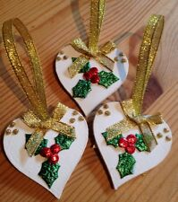 3 X Handmade Shabby Chic Christmas Decorations Holly Gold Bows