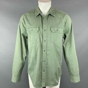 ADRIANO GOLDSCHMIED Size L Olive Cotton Elbow Patches Long Sleeve Shirt