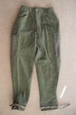 vtg Swedish Military 3 crown green wool pants C46 leather straps 28 x 32