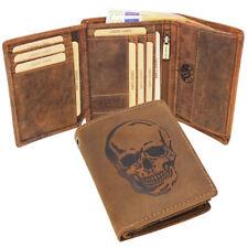 Büffelleder Geldbörse Geldbeutel Portemonnaie Bikerbörse Totenkopf Kette RFID