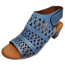 Spring Step Blue Leather High Heel Sandal Boho Chic Shoes Sz 38 39 41 42