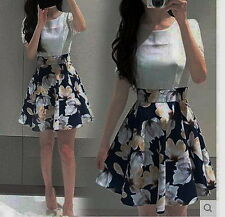 Korean Floral mock-two piece dress ( Sz Large)