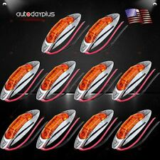 10pcs Amber Truck Trailer Side Fender Marker Clearance Light Chrome Housing 3Led
