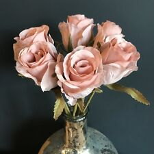Bunch 5 Dusky Pink Faux Silk Rose Buds. Realistic Artificial Light Pink Flowers