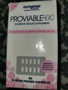 Nutramax Proviable-DC Digestive Health Supplement for Dogs & Cats, 80 Capsules