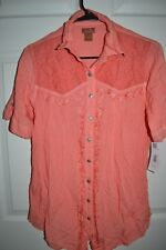Scully HC149 WOMENS Short Sleeve Lace Rayon Blouse EMBROIDERED CORAL SZ MED $80