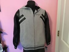 Sean John Boys Xl Heather Gray Jacket With Faux Leather Sleeves
