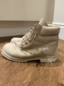 Timberland Classic Boots Cream Leather Size 6