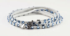 Swarovski Crystal and Leather 5 wrap bracelet in white with pale blue crystals