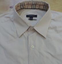 BURBERRY LONDON Solid Beige w Nova Check Collar 1 Pkt S/S Shirt Large