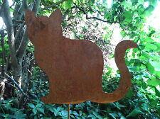 Gartenstecker kleine Katze aus Metall, Rost, Gartendeko