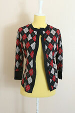Heartbreaker Fashion Cardigan Sweater Sz M Argyle 3/4 Sleeve Top Blouse Retro