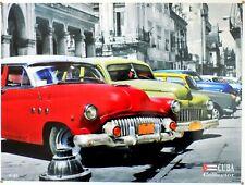 PLAQUE METAL vintage CUBA COLLECTOR US CARS - 40 x 30 cm