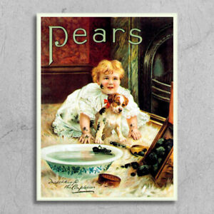 Metal Signs plaques vintage retro style Pears soap girl dog advert bathroom