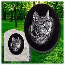 Katzen Grabplatte Grabschmuck 15 x 10 cm ►Foto - Gravur◄ Grabstein oval-gb03