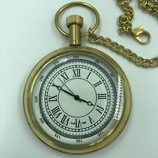 "Nautical Maritime Antique Brass Finish 2"" Pocket Watch with Chain"