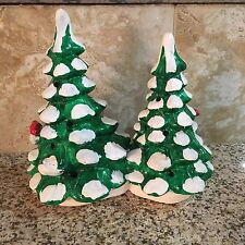 """DEPT 56 Snow Village Small Double Christmas Trees 50161? 1982 8"""" Tall"""