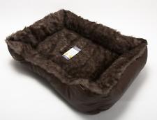 Soft Pet Bed Mattress Basket Mat Fur Leather Cushion Cat Dog Kitten Small Brown