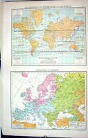 Old Antique Print Map C1893 Isothermal Winds Chart World Religions Europe 19th