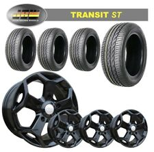 """8""""x18"""" JBW TST GLOSS BLACK ALLOY WHEELS+TYRES TO SUIT FORD TRANSIT SET OF 4"""