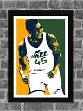 Utah Jazz Donovan Mitchell Portrait Sports Print Art 11x17