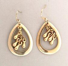 "Drop Dangle Earrings 5/8x1.5"" Gold Tone Bead Oval"