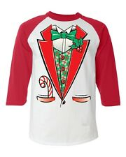 Christmas TUXEDO funny Baseball Raglan T-shirt holiday xmas suit costume