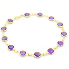 14K Yellow Gold Bracelet With Round Shaped Fancy Cut Amethyst 8 Inches