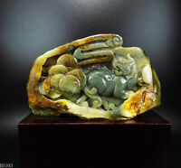 Natural Jade Statue sculpture Hand Carved 0.49KG Pixiu&coin#wood base#bs103