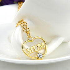 New Rhinestone Gold Slender Necklace Pendant Love Heart Crystal Mom Gifts 2015
