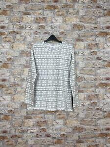 Vintage fleece 90's Navajo geometric snowflake grey & white women's UK 12 #147