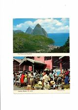 2 Coloured Postcards from St Lucia. Caribbean. 1970's.