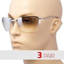 3 Lot Men Rectangular Rimless Transparent Sunglasses Eyewear Black Silver Color