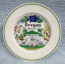 "Old 9"" Oregon Beaver State Plate Mt Hood Capitol Flag Bird Cow Logging FREE S/H"