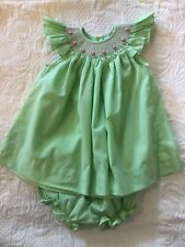 Remember Nguyen Smocked Dress Rosebuds With Bloomers 9 Months Green White Pink