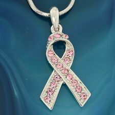 Awareness Ribbon Made With Swarovski Crystal Breast Cancer Support Pink Pendant