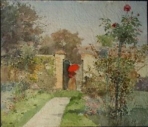 Marie Egner - Umkreis/Circle. Dame im Garten mit Roten Sonnenschirm