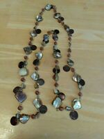 "Vintage Mother of Pearl Chains Crystals Round thin MOP Charms Long 39"" Necklace"