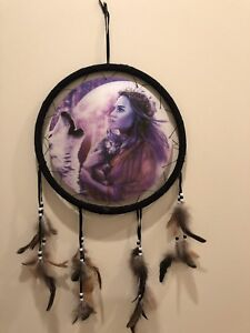 Free Shipping! Holographic Dream Catcher, Indian Princess Baby Wolf Howling Wolf