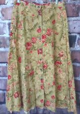 Vtg floral boho skirt 10 Petite tan red cotton LizSport below knee modest 1990s