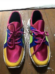 Yoki Womens Jelo-12 Fashion Sneakers Shoes Fuchsia Color Block Lace Up Size 11