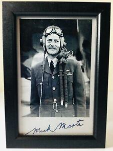 RAF LANCASTER BOMBER PILOT MICKY MARTIN DAMBUSTERS PHOTOGRAPH PRINT & SIGNATURE