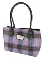Ladies Authentic Harris Tweed Classic Handbag Pink/Grey Check LB1003 COL 34