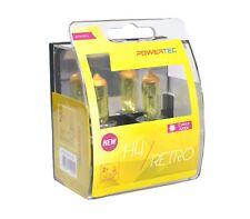 Powertec Retro H4 12 V Bombilla de coche faros amarillo Duo Set 12 V 55 W;;;