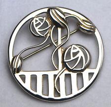 Vintage Sterling Silver Rennie Mackintosh Rose Art Nouveau Round Brooch / Pin