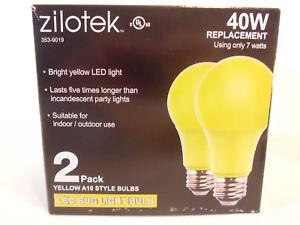 (2) NEW Yellow LED Bug Light Bulb 7 watt (40w Replace) Indoor/Outdoor 2pk)