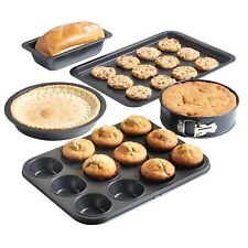 VonShef 5-piece Non Stick Carbon Steel Bakeware Set - With Muffin Tray Oven TRA