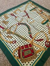 """Unknow Brand Vintage Green White Red Yellow Color 30""""by30"""" Twill Silk Scarf"""